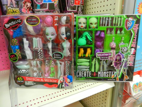 The Bratzillaz Switch-A-Witch wave 1 double pack next to Mattel's Monster High Create-A-Monser starter pack. Click to view full-size!